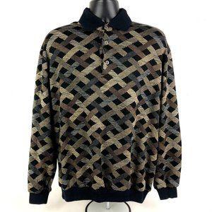 Vintage Textured Polo Sweater Alan Stuart  Coogie